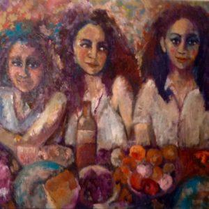 De eetclub | olie op doek | 75 x 110 cm