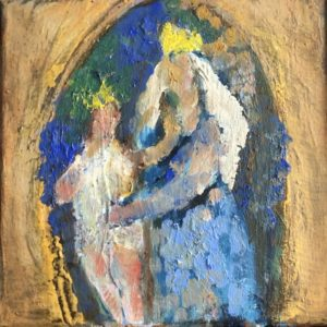 Madonna met kind  | olie op doek | 20x20 cm