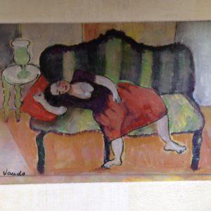 Middagdutje | olie op doek | 35 x 38 cm