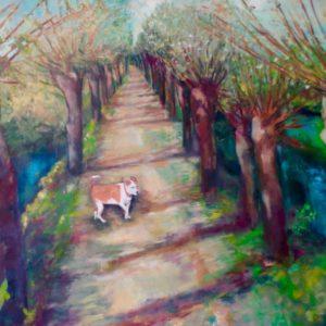 Rhoonse grienden met hondje | olie op doek | 160 x 130 cm