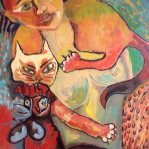 Vrouw met kat en haan
